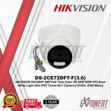 HIKVISION DS-2CE72DFT-F(3.6) - HD1080P 2MP Full Time Color 3D DNR WDR FF3.6mm White Light 20m IP67 Turret 4in1 Camera [12VDC OSD Menu]