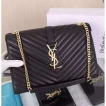 Yves Saint Laurent Black Bag With Gold Chain Strap