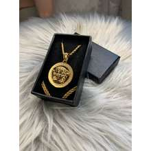 Versace High Quality Gold Pendant Rope Chain Necklace