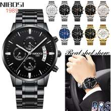 NIBOSI [With Box and gifts] New Top Brand Mens Watches Original Stainless Steel Luxury Watch Fashion Business Waterproof Watch for Men Automatic Date Luminous Display Quartz Clock Men Watch