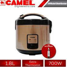 Camel 【FLASH SALE】 SK-40S 1.8L Jar-Type Rice Cooker with Steamer and Automatic Cook-Warm System (10cups) Champagne Gold | Good for 6 to 8 person | Best Seller | Extreme Thermostat | 700W Rice Cooker | Side-hinged Cover | Automatic Cookwarm