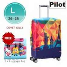 Pilot LC002 Korean Style Travel Accessories 26-28 Inches(L)Elastic Cartoon Lovely Luggage Protector Waterproof Spandex Travel Suitcase Cover Trolley Case (Happy Travel) FREE Luggage Tag