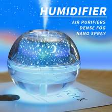 Blue Water Humidifier Light Air Crystal Usb Projection Cute Night Air Humidifier
