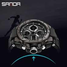 Sanda New Listing Original Creative Men Watch Sports Luxury Waterproof Quartz LED Multi-function Swimming Military Mens Watch (Black)