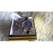 Michael Kors AUTHINTIC AND PAWNABLE 2TONE WITH FREE 2PCS. MK BANGLE BRACELET AND 10KT. HOOP EARRING GOLD HARD PLATED HYPOALLERGENIC CHRONOGRAPH ACTIVE WATER PROOF BY Miras Collection