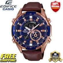 Casio Original Men Business Fashion Sport Watch ERA600 100M Water Resistant Shockproof Waterproof Auto-Calendar Stainless Steel Mens Boy Quartz Wrist Watches ERA-600GL-2A Brown Leather Band (4 Years Official Warranty)