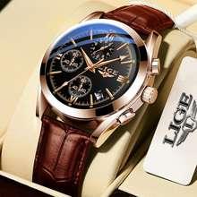 Lige Original Men Watch Waterproof Leather Strap Analog Quartz Fashion Watch For Men Date Sports Chronograph Relo