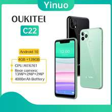 OUKITEL C22 4Gb 128Gb Android 10.0 Mt6761 Quad Core Smartphone 2.5D Glass Cover 13Mp Triple Camera 5.86'' 4G Mobile Phone