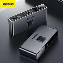 Baseus Dual Modes Hdmi Splitter Two-Way Switch Light Display Audio Video Switching 4K Hdmi Splitter (Dark gray)