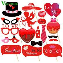 Vococal 【In Stock】 34PCS Romantic Valentines Day Decorations with Love Heart Balloons Tablecloth Photo Booth Props Petals Banner for Wedding Anniversary Engagement Decor
