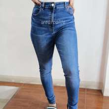 Pull & Bear 𝐏𝐁𝐒𝐉𝟎𝟐 High-Waisted Stretchable Skinny Jeans | Classic Blue