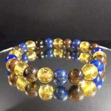 Crystal Citrine Lapis Lazuli Tiger eye 8mm Bracelet (Libra)