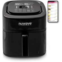 NuWave Brio 6 Quart Air Fryer With App Recipes Black Includes Basket Divider One Touch Digital Controls 6 Easy Presets Wattage Control And Advanced Functions Like Sear Preheat Delay Warm And More New Updated Model