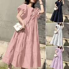 ZANZEA Women Puff Sleeve Plain Vintage Casual Swing Long Dress