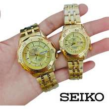 Seiko 5 Gold dial Couple watch Men Women Stainless Gold Water resistance with Day & Date