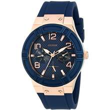 GUESS Women's Rose Gold-Tone Dial with Iconic Blue Stain Resistant Silicone Strap (Model: U0571L1)