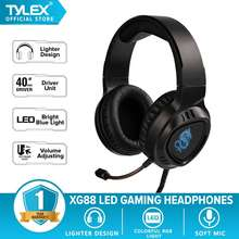 Tylex Xg88 Led Gaming Noise Cancelling Headphones W/ Built-In Microphone Lightweight (Black)