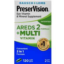 Bausch + Lomb PreserVision AREDS 2 Formula Plus Multivitamin 120 Softgels exp 5-2023