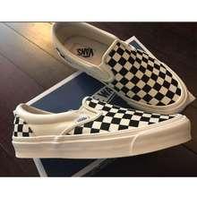 Vans Slip On Shoes Unisex Classic Canvas Grid Shoes Lazy Shoes Loafers Shoes For Mens Women