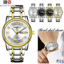 KINGNUOS [With Box]New Top Brand Mens Watches Original Stainless Steel Luxury Watch Fashion Business Waterproof Watch for Men Automatic Date Luminous Display Quartz Clock Men Watch