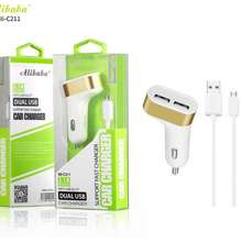 Alibaba Ali-C211 2.1A Dual USB Port Fast Car Charger for Micro Android Phone