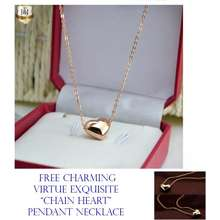 J&J 18k Gold Plated Mini Love Chain Heart Princess Necklace with FREE Charming Virtue Exquisite Chain Heart Pendant Necklace
