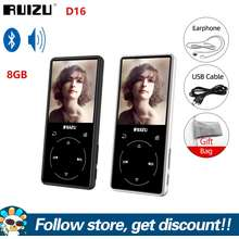 Ruizu Bluetooth MP3 Player D16 Metal Portable Audio 8GB Music Player With 2.4 inch Screen With Built-in Speaker Support FM Radio Recorder Video Player Portable Metal Walkman (BLACK)