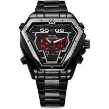 WEIDE Watch for Mens WH1102B-1C-WHITE INDEX BLACK Stainless Steel Band 30m Dual Display