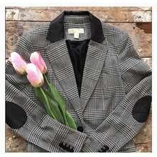 Michael Kors Houndstooth Weave Pattern Blazer