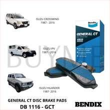 Bendix Brake Pad for Isuzu Crosswind Isuzu IPV & Isuzu Hilander 1987 - 2016 (DB-1116 GCT)