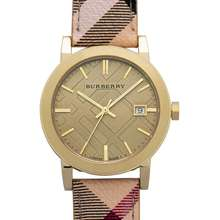 Burberry The City Champagne Dial Haymarket Check Strap Unisex Watch 38 mm