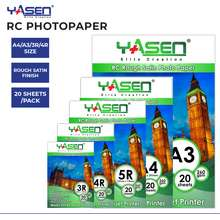 Yasen Photo Paper RC Rough Satin 1 Pack 260GSM A4 / A3 / 4R / 3R Waterproof Resin Coated Satin Finish Photopaper Photopapers Water-based Inks (20 Sheets)