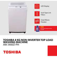Toshiba Top Load Non-Inverter Washing Machine 8Kg With 8 Wash Programs And Led Display. Aw-J900-Dph