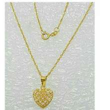 Saudi Gold Ladies Necklace With Heart Pendant (Twisted Design/Gold)
