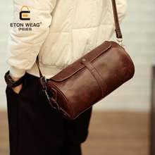 ETONWEAG Crazy Horse Leather Men Sling Bag Round Messenger Shoulder Bag