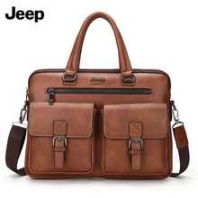 Jeep High-end Mens Business Bag Leather Bag for men Briefcase Messenger Bag Office Bag for Men Shoulder Bag Mens Business Fashion Handbag Leather Laptop Bag 14 Notebook Bag