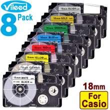 Casio 8 Pack Multicolor 18Mm Label Tape Cartridge For Ez-Label Printer Kl-120 Kl-130 Kl-820 K