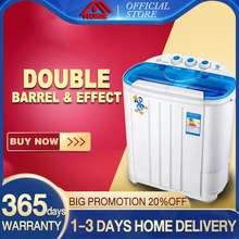 Home double barre semi-automatic with dry washing machine 3.6KG large capacity blue light mini washing machine automatic sharp front load portable washing machine inverter portable washing machine with dryer sale single tub manual washing machine (3.6KG+double motor)