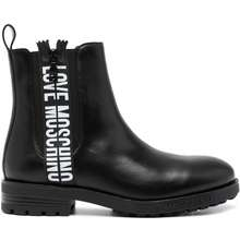 LOVE MOSCHINO Logo Print Leather Ankle Boots Black