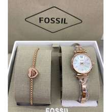 Fossil Gold Ladies Watch Set (Chat, Color)