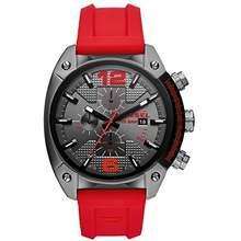 Diesel Men S Overflow Stainless Steel Quartz Watch With Silicone Strap Red 21 Model Dz4481