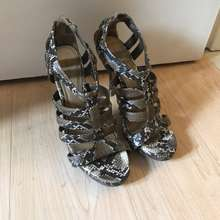 Charles & Keith Cage Snake Print Pumps Size 7