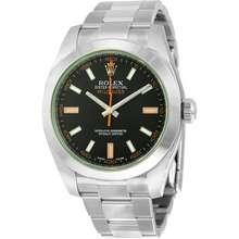 Rolex Milgauss Black Dial Domed Bezel Green Crystal Oyster Bracelet Unisex Watch 116400V