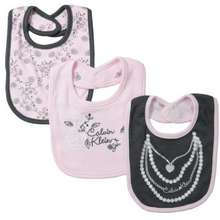 Calvin Klein Layette 3-Pack 2-Ply Bibs - Pearl Necklace