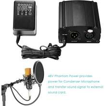 Neewer 220v Channel 48V Phantom Power Supply Black Adapter One XLR Audio Cable for Condenser Microphone Music US Plug Recording Equipment