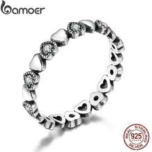 BAMOER Free Shpping Genuine 925 Sterling Silver Stackable Ring Heart Black CZ Finger Rings for Women Wedding Anniversary Jewelry Anel SCR140