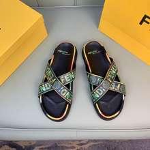 Fendi Original Black Green Slippers For Men