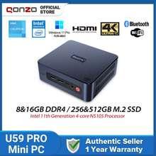 Beelink New U59 Mini PC (Pre-activated Win 10 Pro) Desktop 16GB+512GB CPU Intel Celeron N5095 Quad-Core Bluetooth 2.4G/5.8G WIFI Dual HDMI Output Ports Support 2.5 inch SSD/HDD Storage Expansion Gigabit Internet Mini Computer (8G DDR4 + 256G SSD)